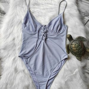 F21 Sky Blue Underwire One piece Lace Up Swimsuit